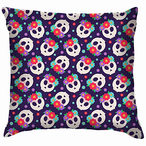 ower Wreath Flowers Frida Holidays Cotton Throw Pillow Case Cushion Cover Home Office Decorative, Square 18X18 Inch ()