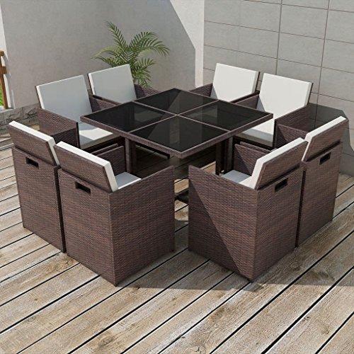 lingjiushopping Ensemble table et chaises pour extérieur 25 pièces en polyrotin marron Couleur du coussin : Blanc crème Ensemble de meubles d'extérieur