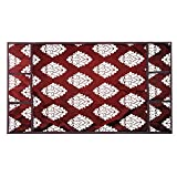 #2: E-Retailer™ Maroon Flower Design Fridge Top Cover with 6 Utility Pockets