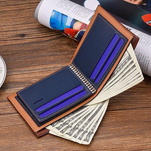 Herren Geldbörse Blau Leder Geprägtem Portemonnaie Männer Geldbeutel Querformat Portmonee Börse in Geschenkbox Stil 4