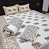 Royal Handicrafts 2 In 1 Reversible Set Of Cotton Double Bed Jaipuri Razai Double Bedsheet With 2 Pillow Covers - Abstract, Multicolor