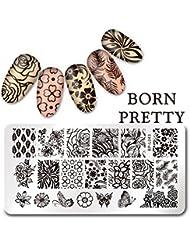 Born Pretty 12*6cm Nail Art Plaque Rectangle de stamping en Motif de Papillon Fleur L043