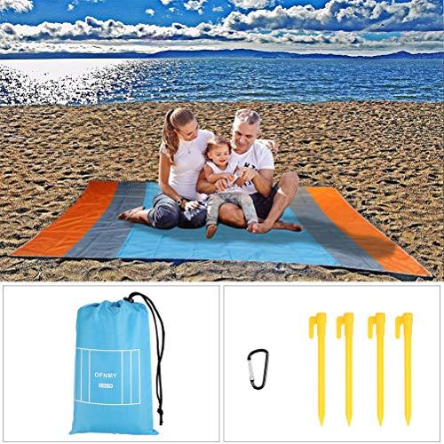 OFNMY Stranddecke Campingdecke Picknickdecke aus 210T Polyester wohl in der Natur geeignet für Reisen Sport Outdoor-Aktivitäten(210 * 270cm)