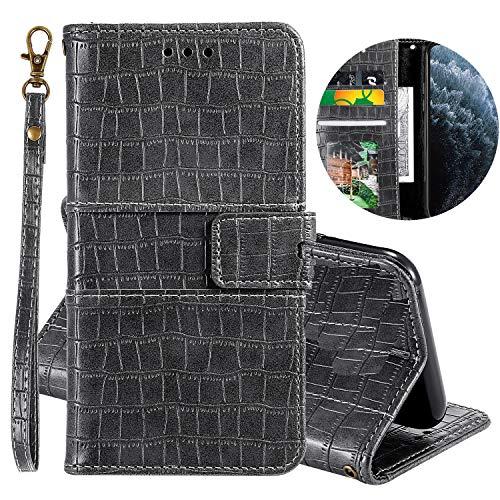 Miagon Krokodil Flip Hülle für OnePlus 7 Pro,Stilvoll PU Leder Wallet Tasche mit Standfunktion Magnetisch Brieftasche Bookstyle Schutzhülle,Grau