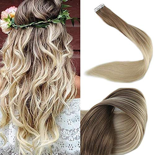Full Shine 14 Zoll 20 Stuck 50gram Tape in Ombre Human Hair Extensions Haarfarbe #8 Fading to #60 Plautinum Blonde Tape in Extensions Echthaar Remy Extensions