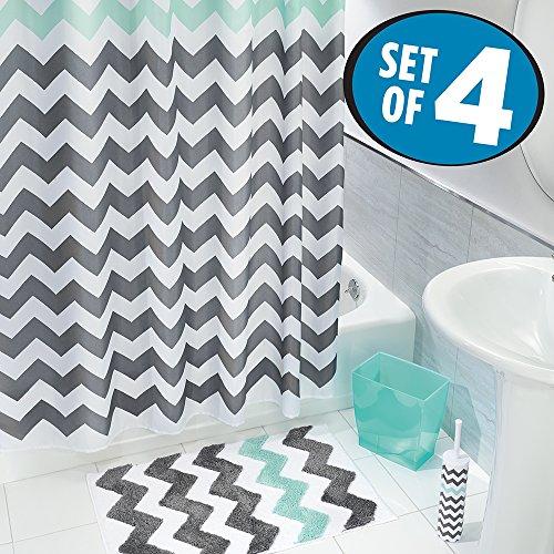 mDesign 4er-Set Duschvorhang Anti-Schimmel, rutschfeste Badematte, Toilettenbürstenhalter und Abfallbehälter – mehrteilige Badeinrichtung im zeitlosen Zick-Zack-Design – grau/türkis