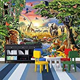 Papier Peint 3D Monde Animal Affiche Géant Design Mur Photos Moderne Murale Décorer Le Fond De Télévision Pour Le Salon Chambre Papier Peint 3D Faux Cuir Vinyle Mural-300cm×210cm