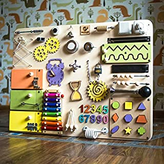 Busykids-4 Handmade Wooden Busy board, Clever Puzzles, Locks and Latches Activity Board (Natural + Green + Yellow + Orange)