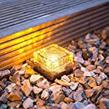 2 Pack Warm White LED Solar Garden Path Light , Solar Ice Brick weatherproof Ideal for Garden, Paths Walls, Rockery , Patios, Steps, Drive Edge, Footpath Edge ,Paving Etc by NORDSD