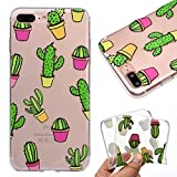 Custodia per Apple iPhone 7 Plus / 8 Plus , IJIA Trasparente Adorabile Cactus TPU Silicone Morbido Protettivo Shell Coperchio Caso Bumper Protettiva Case Cover per Apple iPhone 7 Plus / 8 Plus (5.5')