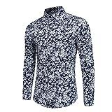 VEMOW Gentleman Persönlichkeit Männer Sommer Herbst Casual Schlank Langarm Tägliche Party Business Dating Printed Shirt Top Bluse(Marine, EU-52/CN-2XL)
