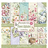 """Stamperia Double-Sided Paper Pad 12""""X12"""" 10/Pkg-Flower Alphabet, 10 Designs/1 Each"""