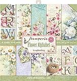 STAMPERIA SBBL30 Papierblock 10 Blätter doppelseitig Blumen Alphabet