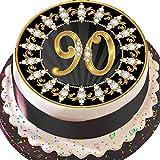 vorgeschnittenen essbare Deko-silikonformkuchendekoration, 19,1cm Runder Tortenaufsatz, schwarz und gold zum 90. Geburtstag Z03