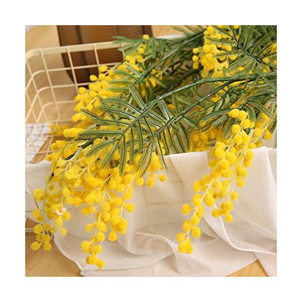 HYLZW Flor Artificial Planta 3 Unids/Lote 3 Ramas De Acacia Artificial Spray De Mimosa Amarillo Flor De Seda Falsa para…