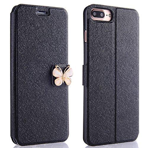 Dünn Hart Hülle für Plus, für iPhone 8 Plus / iPhone 7 Plus (Nicht für iPhone 8/7) Handyhülle, PU Leder Flip Case Tasche für iPhone 8 Plus / iPhone 7 - Cd-player Cute