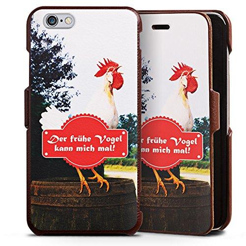 Apple iPhone 6s Lederhülle Handyhülle mit Klappe Klappfunktion Flip Case Fruehe Vogel Hahn Landleben (Klappe Früh)