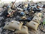 Modbrix 8 Stück Custom Minifiguren WW2 Deutsche Elite Soldaten Fallschirmjäger inkl. Sandsacksstellung und Verschlag