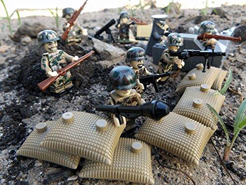 Modbrix 8 pezzi custom minifigure ww2 deutsche elite soldato paracadutista con posizione sacca e arresto.