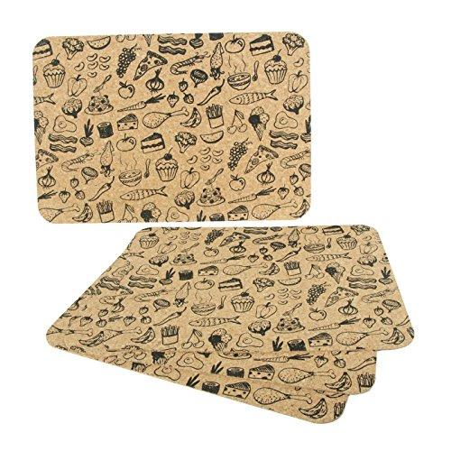 """Salvamanteles de corcho agglo, motivo """"Alimentos"""" - rectangulario (40 x 30 cm, 3 mm d'épaisseur) - Kit con 4 piezas"""