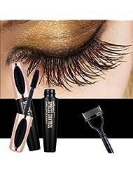 USHION 4D Fiber Lash Mascara - Waterproof Long Lasting Extension Crazy Long Eyelashes Mascara with Free Eyelash Comb - Black
