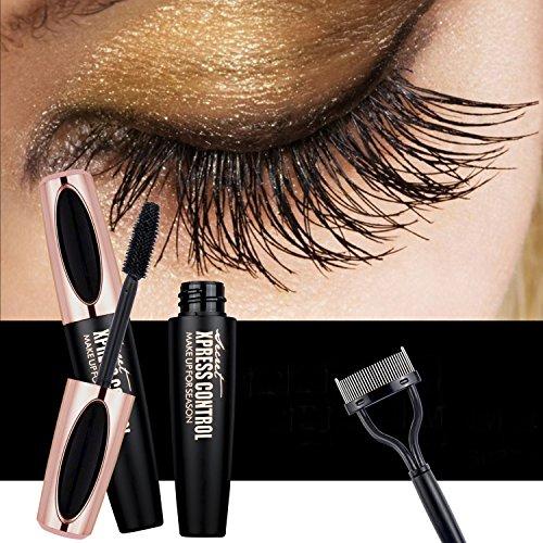 USHION 4D Fiber Lash Mascara - Wasserdichte lang anhaltende Erweiterung Long Wimpern Mascara mit freiem Wimpernkamm - Schwarz