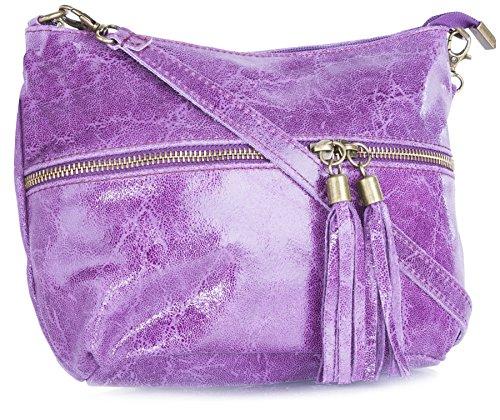 Big Handbag Shop donna vera pelle tasca frontale lunga Tassel Estrattore Borsa Purple
