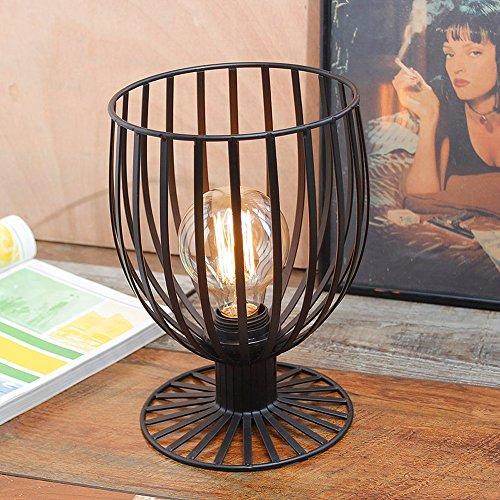 Rishx Industrielle Vintage Iron Cage Frame Tischlampe Steampunk Wasserpfeife E27 1-Licht Schreibtisch Licht Metall Edison Schmiedeeisen Desktop-Leuchte Wohnzimmer Nachttischlampe mit Dimmschalter