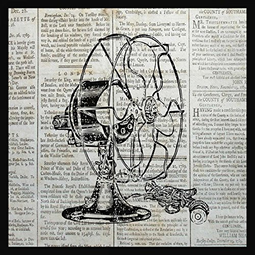 Feeling at Home LEINWANDDRUCKE-Bild-MIT-Rahmen.cm_73_X_73-Ballantyne-Piper-Jahrgang-Kunstdruck-auf-Gerahmte-Leinwand-Retro-ZEITUNGSPAPIER
