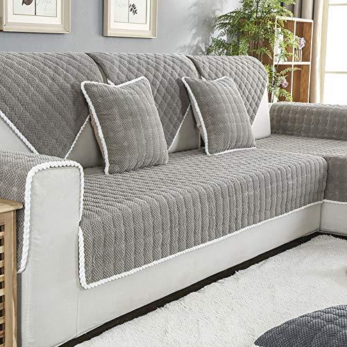 Original Sofa Überwürfe, Verdicken sie Volltonfarbe Winter Möbel Geldklammer Sofaüberwurf Anti-rutsch Kein ausbleichen von stück verkauft-Hellgrau 28x83inch