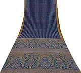 Vintage Indian Dark Blue Saree Reine Seide Stoff mit