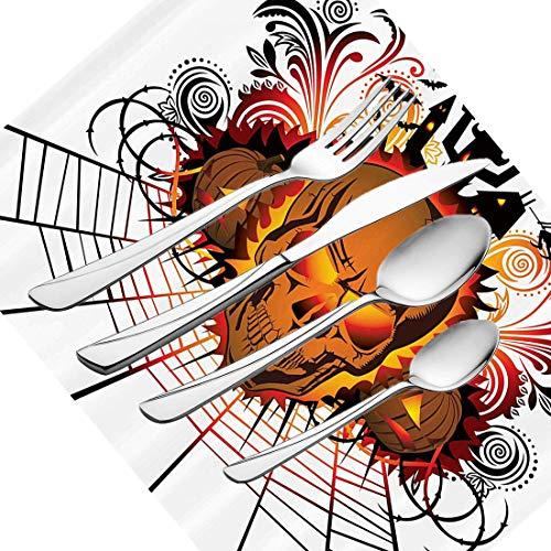 30-teiliges Besteckset, Halloween-Geschirr, Edelstahl-Besteckset für 6 Personen, einschließlich Messer, Gabeln, Löffel, Teelöffel und Tischset, wütendes Schädelgesicht auf Bonfire Spirits of Ot