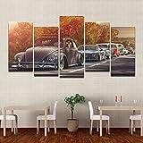 Moderne Home Wand Kunst Dekor Frame Bilder HD Druckt 5 Stück Volkswagen Beetle Auto Gemälde auf Leinwand Retro Sonnenuntergang Poster, 40 x 80 cmx 4 40 x 100 cm 1, Rahmen