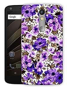 "Humor Gang Flowers Pattern - Purple Printed Designer Mobile Back Cover For ""Motorola Moto X Force"" (3D, Matte Finish, Premium Quality, Protective Snap On Slim Hard Phone Case, Multi Color)"