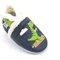 LEPEPPE - Dinosauro Extra Calde - Scarpine in Pelle Prima Infanzia - Pantofole Scarpine Babucce - Neonato - Nido…
