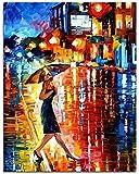 WWDFDD Kein Rahmen Spaziergang Im Regen Lady Night Street Pictures DIY Farbton Nach Zahlen Acrylbild Nach Zahlen Auf Leinwand Für Erwachsene Einzigartiges Geschenk 40Cm X 50Cm