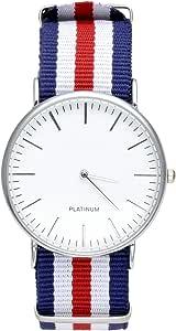 JSDDE Uhren,Genf Herren Damen Armbanduhr Nylon Textil Band Durchzugsband Analog Quarzhr Chronograph Uhr(Doppel Rot-Weiss-Blau)