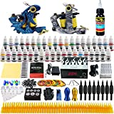 Solong Tattoo® Komplett Tattoo Maschine Kit Set 2 Profi Tattoo Maschine Guns Liner und Shader 40 Tattoo Farben/Inks Netzteil Griffstück Tattoo Tinte Nadel Tattoo Übungshaut TK223