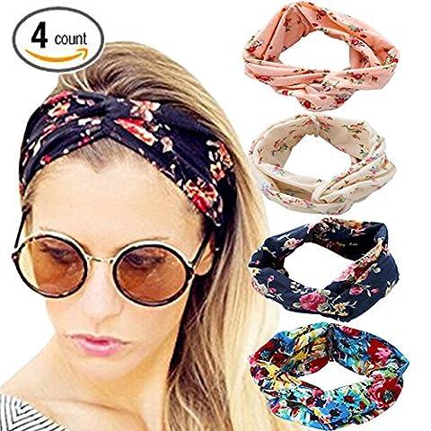 DRESHOW 4 Pack 1950's Vintage Flower Headbands for Women Twist Elastic Turban Headband Head Wraps Cute Hair