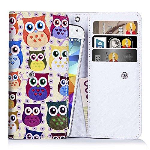 Handytasche für Smartphones zwischen 131x65x7mm bis 144x78x9,7mm aus strapazierfähigen Kunstleder. Ideale Schutzhülle für Handys mit integrierten Kreditkartenfächern und Platz für Geldscheine.Eulenmuster (2)