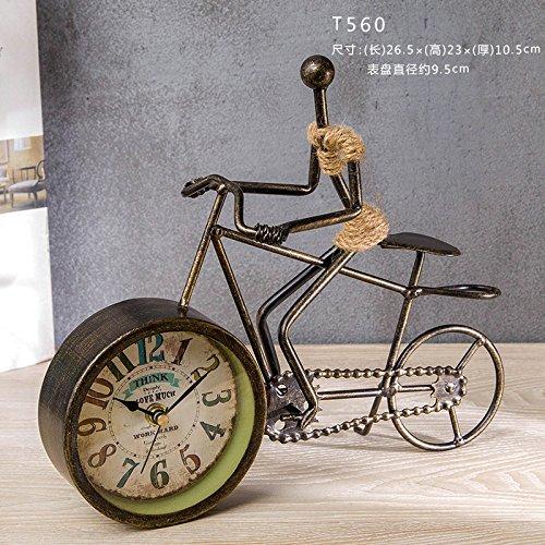 ron Table Uhr Europäische Kreative Hanf-Uhr Dekoration Wohnzimmer-sitzende Uhr Schreibtisch Fahrrad Antique Uhr T1560 ()