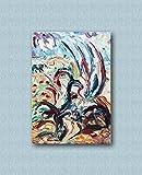 Zeitgenössische und zeitgenössische dekorative Leinwandrahmen, Wohnzimmer, abstrakte und originelle Gemälde wie die Impressionisten, handgemacht mit Öl auf Leinwand Puliafico - AGAVE 50x70cm