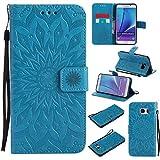 BoxTii Coque Galaxy Note 5, Etui en Cuir de Première Qualité [avec Gratuit Protection D'écran en Verre Trempé], Housse Coque pour Samsung Galaxy Note 5 (#6 Bleu)