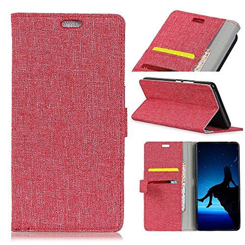 Retro Jeans Stoff Textur Bookstyle Folio Stand Case mit Kartensteckplätzen für Doogee MIX ( Color : Black ) Red