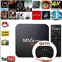 Cewaal (EU Pulg) Smart TV-Box, Android 6.0 Amlogic RK3229 1 GB + 8 GB Quad-Core-Netzwerk WiFi 1080 P HD 4 Karat Smart TV Box Media Player + I8 Tastatur für MXQ Pro