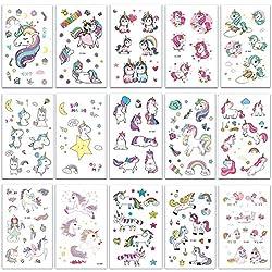 SZSMART Tatuaje Temporale Unids Unicornio Tatuaje Falso Impermeables para Niñas Mejor para Unicornio Suministros de Fiestas Favores de Fiesta y Cumpleaños de Unicornios Hermosos Tatuajes