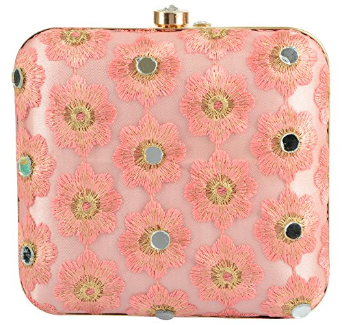 Tooba Handicraft Party Wear Hand Embroidered Box Clutch Bag Purse Potli For Bridal, Casual, Party , Wedding ( mirror flower 6x6)  available at amazon for Rs.735