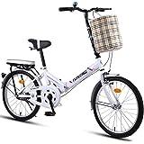 JYXJJKK Bicicleta plegable de 20 pulgadas, para hombres y mujeres, ligera, para adultos, con freno de disco doble