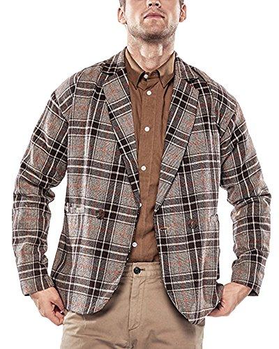 Uomo Plaid Giacca Blazer Casual One Bottoni Corto Cappotto Jacket Caffè