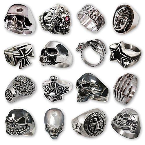 Fly Style® - 1 Stück - 316L Edelstahl Ringe massiv in Silber Optik - 29 außergewöhnliche Designs stehen zur Auswahl - Top Preise - Herren Biker Rocker, Ring Grösse:20.0 mm;Modell:Piraten Skull König mit Strass